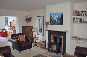 leather sofas and fire from wood burning stove