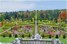 Drummond castle gardens is very close